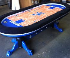 Sports Themed Custom Poker Table W/ Claw Feet Pedestals .