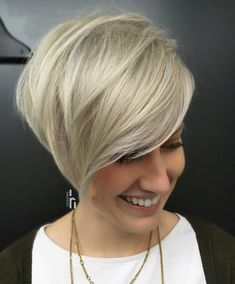 Long Side-Parted Ash Blonde Pixie