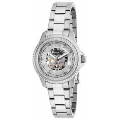 Invicta 16701 Women's Angel Mechanical White & Silver Skeleton Dial Steel Watch