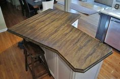 Acid Stained Concrete Countertop. Love The Decorative Edge. Would Be A More  Cost Effective