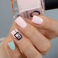 Nagellack Design, Nagellack Trends, Cute Acrylic Nails, Acrylic Nail Designs, Easy Nail Designs, Stylish Nails, Trendy Nails, Geometric Nail Art, Nails Polish