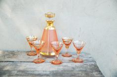 Liquor set peach pink frosted glass  French Liquor by semivint