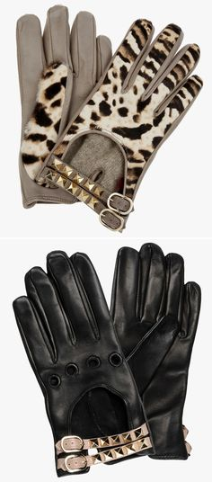 Leather Trends: Leather gold studded gloves