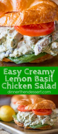 Creamy Lemon Basil Chicken Salad is the perfect lunch dish and takes just a few minutes in the food processor and some pre-cooked chicken.