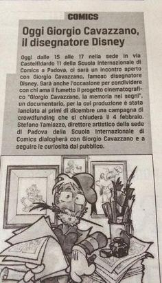 Giorgio Cavazzano ospite della Scuola Internazionale di Comics di Padova. #cavazzano #scuolainternazionaledicomics