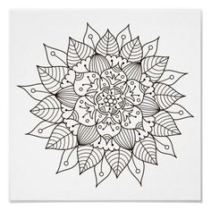 Spend some time relaxing with this coloring page for adults. Once  finished, you can hang it on your wall or give it as a gift. Coloring is  known to reduce tension and stress, so get started on de-stressing with  this piece of art. #zazzlemade #coloringpage #poster #mandala #meditation #yoga #coloring  #coloringforadults Crayon Painting, Painting & Drawing, Canvas Art Prints, Canvas Wall Art, Get Well Gifts, Flower Mandala, Artist Gallery, Mandala Pattern, Coloring Book Pages