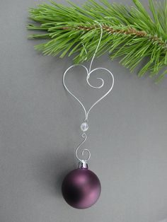 Heart Christmas Tree Ornament Hooks - Wire Christmas Ornament Hangers -  Handmade Christmas Decorations
