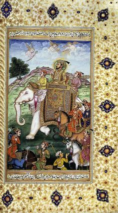 Shah Jahan, the Mughul emperor of India, riding a white elephant, 18th century.