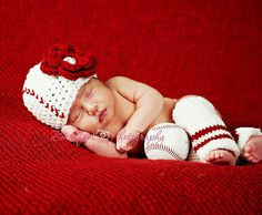 Baseball hat with leg warmers by KnitTillDeath on Etsy, $35.00