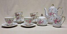 Mid-Century Lefton China Hand Painted Moss Rose Service for 6 Demitasse Tea Set  #LeftonChina