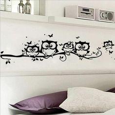 DIY Black Owl Cartoon Wall Stickers Removable Art Vinyl Decal Kids Nursery Room Home Decor~GS660