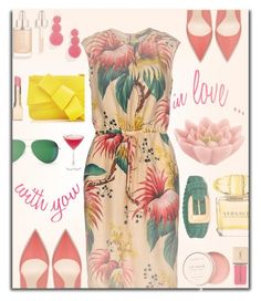 """""""hot summer date"""" by nineseventyseven ❤ liked on Polyvore featuring Dsquared2, BaubleBar, Clarins, Versace, Delpozo, Yves Saint Laurent, Victoria Beckham, Pink Lotus, Birchrose + Co. and dress"""