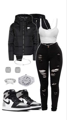 Swaggy Outfits, Baddie Outfits Casual, Swag Outfits For Girls, Cute Swag Outfits, Cute Comfy Outfits, Girls Fashion Clothes, Teen Fashion Outfits, Mode Outfits, Retro Outfits