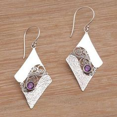 Amethyst dangle earrings, 'Amethyst Whirl' - Artisan Crafted Sterling Silver Amethyst Dangle Earrings (image 2b)