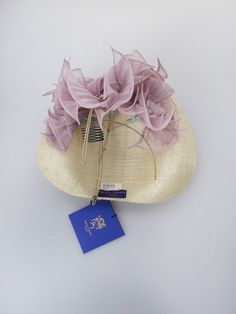 Philip Treacy. Natural/pale purple sinamay tilted hat. Summer wear. Free size.