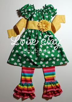 "Girls St Patricks Day Peasant style dress ""Lucky in Love"" boutique hand made 6-9 month to 5T...Love Tay Boutique. $44.00, via Etsy."