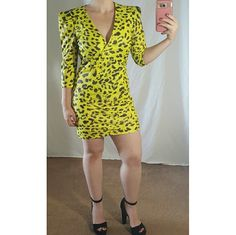 Neon Leopard Print Dress Size S! Worn only once! Super cute and chic neon yellow with leopard print short dress with low v-neck and shoulder pads. Great for a night out! Has visible zipper in back. I am 5'1 wearing this dress. Sorry no trades and offers in comments please! Thanks :)  Jessica Simpson heels in picture available in size 7.5! Dresses