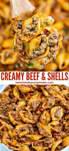 Creamy Beef and Shells is a hearty pasta dish that is perfect for a quick dinner. Creamy Beef and Shells is a hearty pasta dish that is perfect for a quick dinner for the whole family! It is rich, flavorful, and cheesy and even kids will love it! Vegetarian Recipes, Healthy Recipes, Healthy Hamburger Recipes, Healthy Food, Healthy Eating, Ground Beef Recipes, Casseroles With Ground Beef, Best Casseroles, Chicken Recipes
