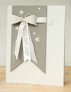 Glittery paper bow card - by Debby at lime doodle