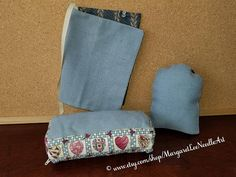 SALE / Blue Cross-Stitch PILLOW Cover / Book Cover / Stand-Up
