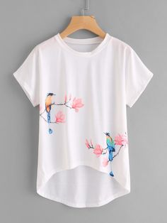 Shop Flower And Birds Print Dip Hem Tee online. SheIn offers Flower And Birds Print Dip Hem Tee & more to fit your fashionable needs. Fabric Paint Shirt, Paint Shirts, T Shirt Painting, Fabric Painting, Hand Painted Dress, Painted Clothes, Indian Fashion Dresses, Girls Fashion Clothes, Fashion Wear