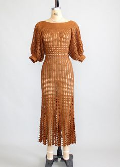 Vintage 1930s Brown Summer Crochet Dress