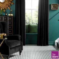 Create an optical illusion with our moody monochrome victorian tiles, just like this stunning Palau Grafito tile #tiles