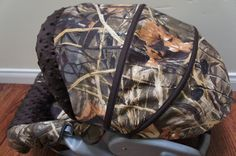 Muted Brown True Timber Camo Baby Boy Car Seat Blanket Canopy / Car