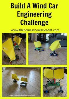 STEM Build A Wind Car Engineering Challenge - The Homeschool Scientist Lego Engineering, Environmental Engineering, Engineering Projects, Stem Projects, Science Projects, Engineering Challenges, Energy Projects, Stem Science, Teaching Science