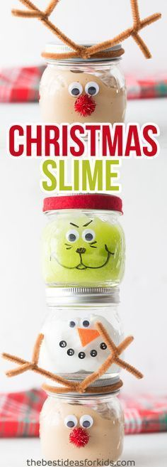 These Christmas Slime Jars are so fun to make as a Christmas craft or to give as a Christmas gift. Kids will love playing with this slime! This slime recipe is no borax and easy to make! Only 3 ingredients. Kids will love making this Christmas mason jar Mason Jar Christmas Crafts, Mason Jar Crafts, Kids Christmas, Holiday Crafts, Holiday Fun, Christmas Decorations, Christmas Crafts For Kids To Make At School, Diy Christmas Slime, Christmas Presents For Kids