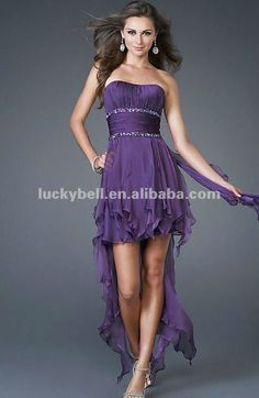 Sexy Front short and long back Purple Chiffon Party Dress