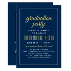Graduation Party Invitation | Navy Blue and Gold - graduation party invitations card cards cyo grad celebration