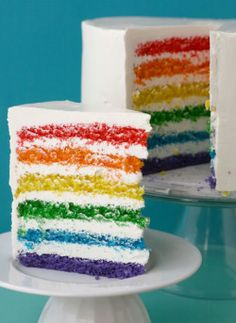 I know some one who might just be getting this Simple Rainbow Cake for their birthday this summer.