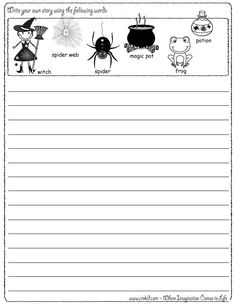 Halloween - Writing Fun ~ Write your own story using our writing prompts. We give you five words on our printout sheet and you create a story. First Grade - Second Grade - Third Grade. Get your pens ready & let the fun begin! http://www.crekid.com