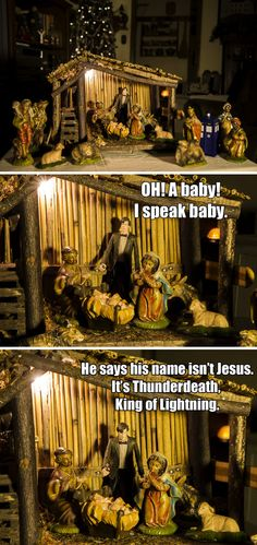 I am so doing this to my parents' manger decoration and seeing how long it takes them to ask WTF is this.