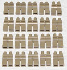 LEGO LOT OF 20 NEW DARK TAN MINIFIGURE LEGS PANTS BODY PARTS TOWN CITY BOY GIRL