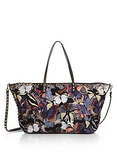 Valentino Butterfly Leather-Trimmed Nylon Tote