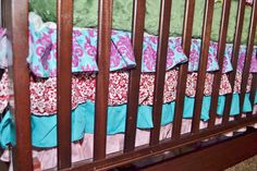 Ruffle Crib Skirt in Pink and Turquoise, Made to Order, Dust Ruffle