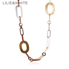 Acrylic link Chain Necklace Big Brand Fashion Trendy Handmade Chain Necklace Women Party Jewelry Wholesale