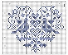 heart graph chart with bird detail Cross Stitch Heart, Cross Stitch Samplers, Crochet Stitches Patterns, Weaving Patterns, Blackwork Embroidery, Cross Stitch Embroidery, Cross Stitch Designs, Cross Stitch Patterns, Crochet Tablecloth Pattern