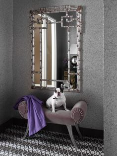 Wallmica wallcovering is so different and interesting it almost steals attention away from the adorable dog lounging in front of it. Made of natural silica mica, this covering resembles granite and works great in rooms where texture and beauty are desired. Designed by: @taraseawright Learn more about Wallmica at: http://www.mayaromanoff.com/product/wallmica