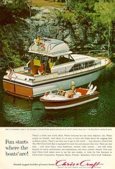 Fun Starts Where the Boats Are. Jet Ski Fishing, Sport Fishing Boats, Plywood Boat, Wood Boats, Chris Craft Boats, Classic Wooden Boats, Classic Boat, Runabout Boat, Ski Boats
