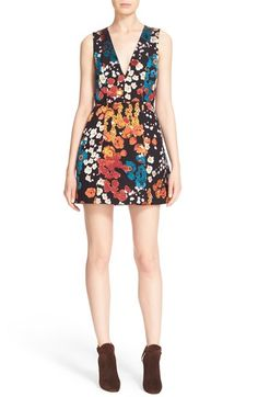 Alice + Olivia 'Pacey' Print V-Neck Lantern Dress available at #Nordstrom
