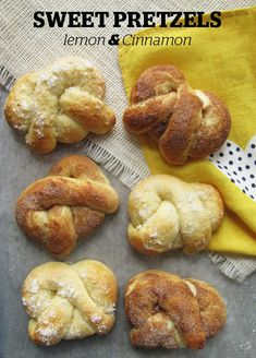 SWEET PRETZELS- Cinnamon OR Lemon    sweet dough -    2/3 cup milk  5 T sugar, divided  1 3/4 t active dry yeast  2 large eggs, room temperature  2 3/4 cups all-purpose flour (+1/2 cup, maybe)  1 t kosher salt  1/2 cup (1 stick) butter, at room temperature  toppings -    1 egg white + 1 t water = egg wash  1/4 T sugar divided  zest from 1/2-1 lemon  1/2 t cinnamon