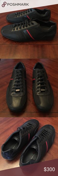 Hugo Boss red label black leather dress sneakers Brand new mens Hugo Boss red label dress sneakers. Limited edition. Beautiful colors and details. Soft leather material. Excellent for summer spring. Very nice style hugo boss shoes. Bought in nordstroms years ago and never worn. Mens size 9 or 11 womens. Sold out everywhere. Will match with many colors. Item comes from a high end nyc apartment. Thanks Hugo Boss Shoes Sneakers