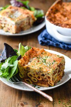 Greek Lasagna (Pastitsio) - Make Ahead! - Foxes Love Lemons Greek Lasagna, Baked Rigatoni, Florida Food, Greek Dishes, Entree Recipes, Creamy Sauce, Lemon Recipes, Vegetable Side Dishes, For Love And Lemons