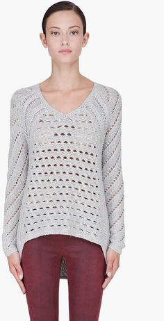 Light Grey Knitted Sweater - Lyst