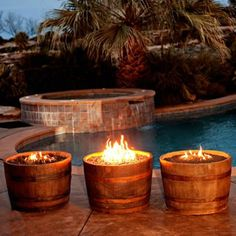 Backyard Blaze specializes in automated remote controlled outdoor fire features and accessories. We have a Large Selection of Concrete Fire Bowls, Gas Tiki Torches, Copper Fire Bowls, Gas Fire Accessories and Outdoor Fire Features. Diy Fire Pit, Fire Pit Backyard, Fire Pits, Backyard Patio, Table Baril, Wine Barrel Fire Pit, Wine Barrels, Barrel Bbq, Barris