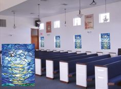 """Custom church job where the customer wanted the sky area of our """"Mansions of Glory"""" repeated on their windows Stained Glass Window Film, Church Windows, Window Films, Sky, Mansions, Gallery, Table, Furniture, Design"""