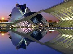 Reflections of Calatrava - Designed by architect Santiago Calatrava. Valencia, Spain. Buildings shown from left to right are the Opera House, the Hemisferic (IMAX theater) and the Science Museum.